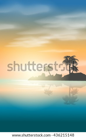 Landscape with palm trees, the sea and the sunset