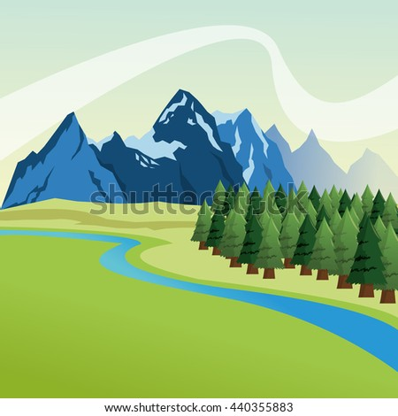 Landscape with pine trees and mountains design, Colorfull illust