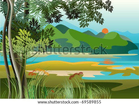Landscape with river and high hills of the jungle