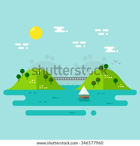 Landscape with river and hills on blue background. Summer landscape. Ship on the river. Flat style vector illustration.  - stock vector