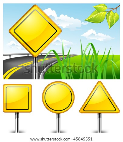 Landscape with road sign against nature and highway, vector illustration - stock vector