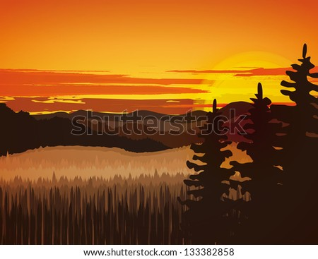 Landscape with rocky mountains at sunset - stock vector