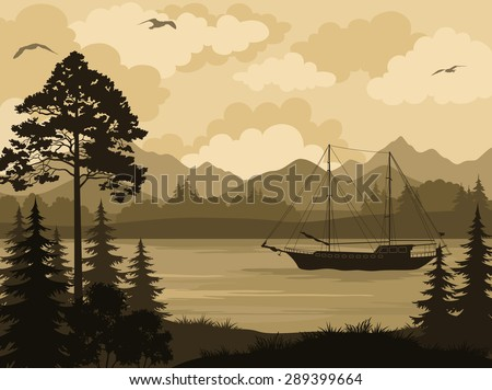 Landscape with Ship Sailboat on a Mountain Lake, Spruce Trees, Pine and Bushes, Birds in the Sky and Clouds. Vector - stock vector