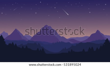 Landscape with silhouettes of blue mountains, hills and forest and beautiful night sky with stars