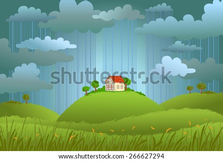 Landscape with the small house in rainy day, a vector illustration. - stock vector