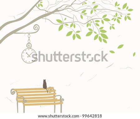 landscape with tree and cat on bench - stock vector