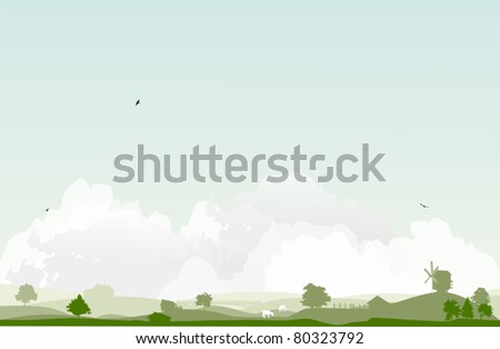 landscape with trees and village - stock vector