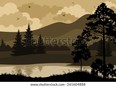 Landscape with Trees, River, Mountains and Birds Silhouettes. Vector - stock vector