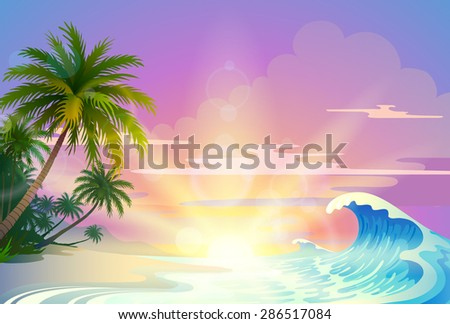 landscape with tropical sunsets - stock vector