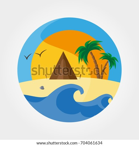 Landscape With Waves Of Sandy Beach Camping Tent And Palm Trees At Sunset Icon