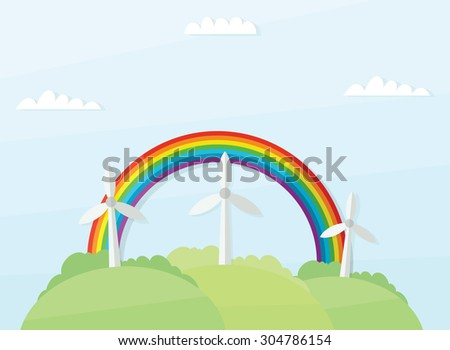 landscape with windmills and rainbow - stock vector