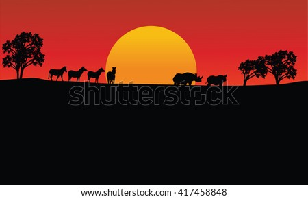 Landscape zebra and rhino silhouette with sun at the morning - stock vector