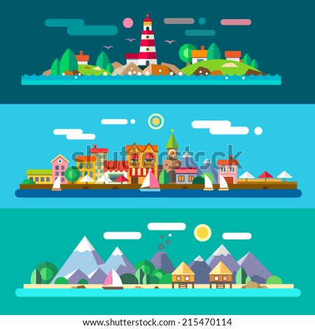Landscapes by the sea: lighthouse and rocks, city embankment, beach resort. Vector flat illustrations - stock vector