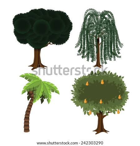 Landscaping tree collection EPS 10 vector stock illustration - stock vector