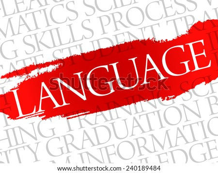 LANGUAGE. Word education collage on gray vector background - stock vector