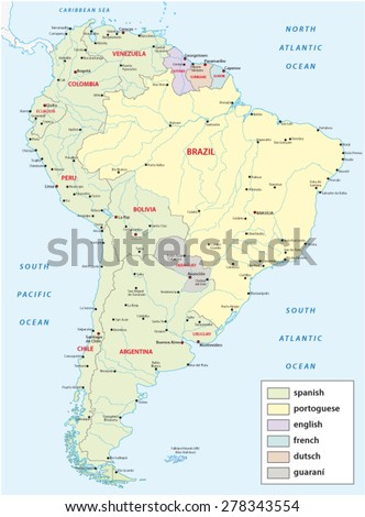 languages map of south america - stock vector