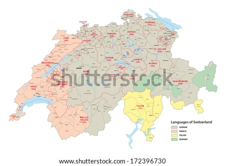 languages of switzerland map - stock vector