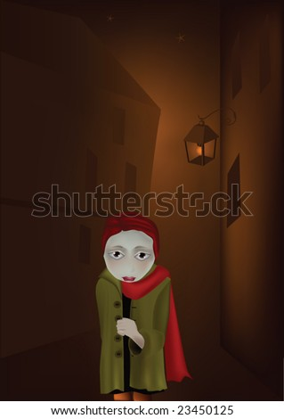 lantern and the lonely girl in a dark city - stock vector