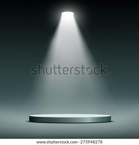 Lantern illuminates round scene. Vector image. - stock vector