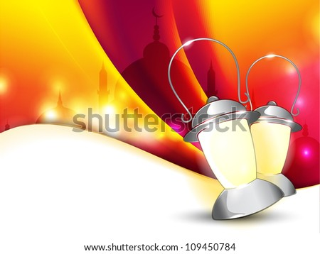 Lantern or lamp with lights on colorful wave  background for Ramadan Kareem and other events. EPS 10. - stock vector