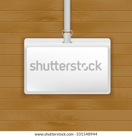 Lanyard badge template isolated on wooden background. Vector illustration for branding  - stock vector