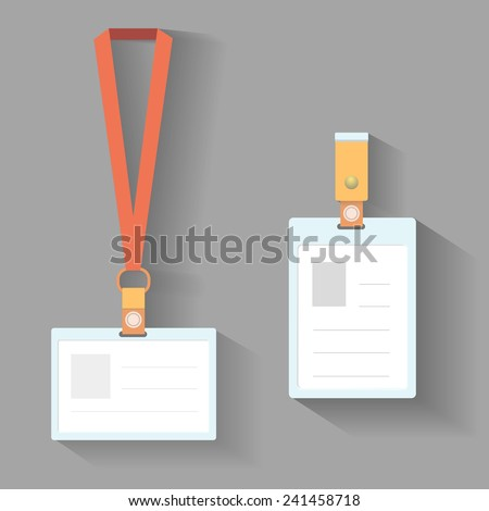 Lanyard badges template flat design with shadow - stock vector