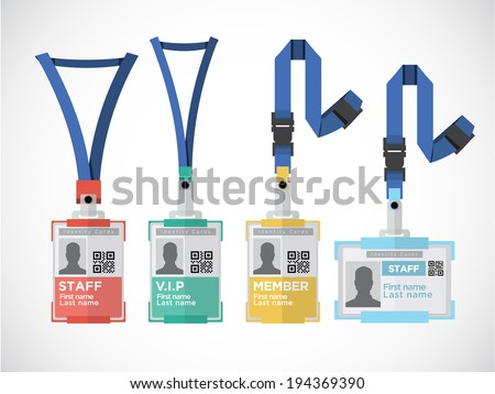 Lanyard, name tag holder end badge templates - vector illustration - stock vector