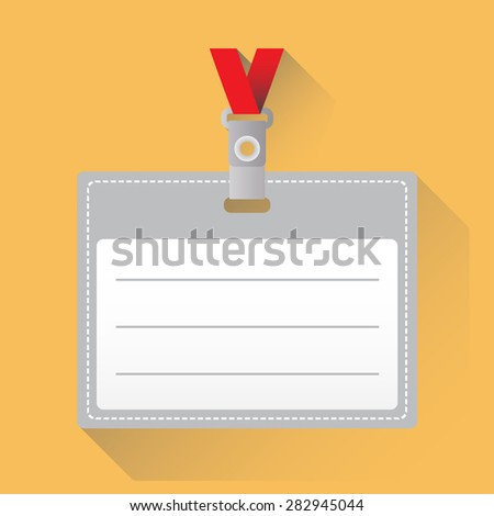 Lanyard with Tag Badge Holder or id card. Vector icon or sign with long shadow.