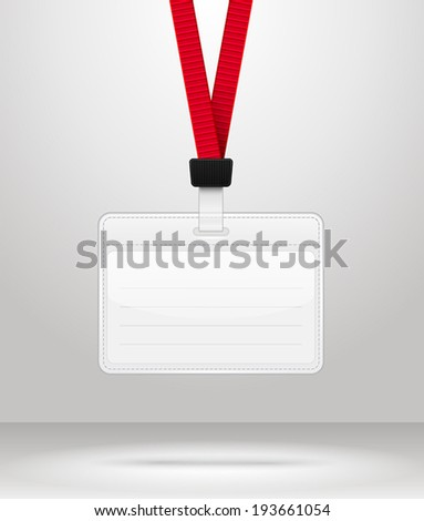 Lanyard with Tag Badge Holder. Vector Illustration