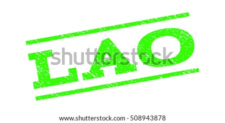 Lao watermark stamp. Text tag between parallel lines with grunge design style. Rubber seal stamp with dust texture. Vector light green color ink imprint on a white background.