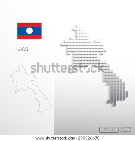Laos flag and Laos map in block style with outline map - Vector illustration