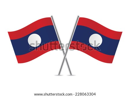 Laos flags. Vector illustration.