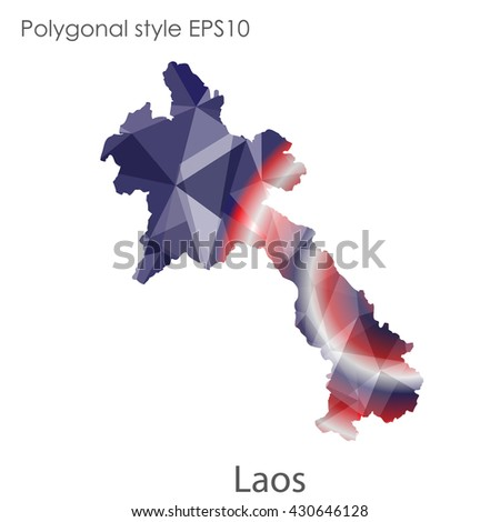 Laos map in geometric polygonal style.Abstract gems triangle,modern design background.