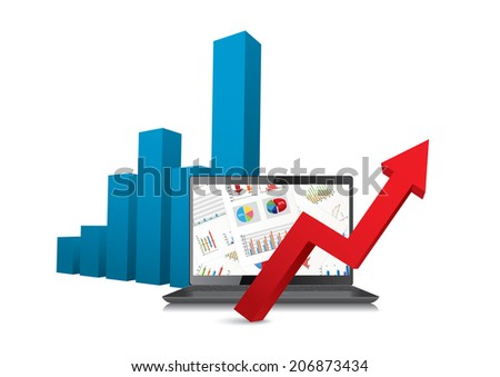 laptop and business chart - stock vector