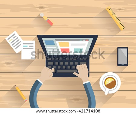 Laptop and coffee cup  on a wooden  table - stock vector