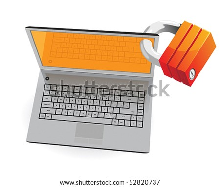 Laptop and lock: computer security concept. Vector illustration. - stock vector