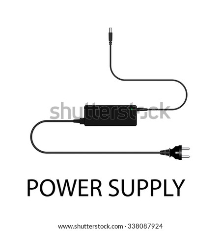 Laptop and power supply to the wire vector illustration - stock vector