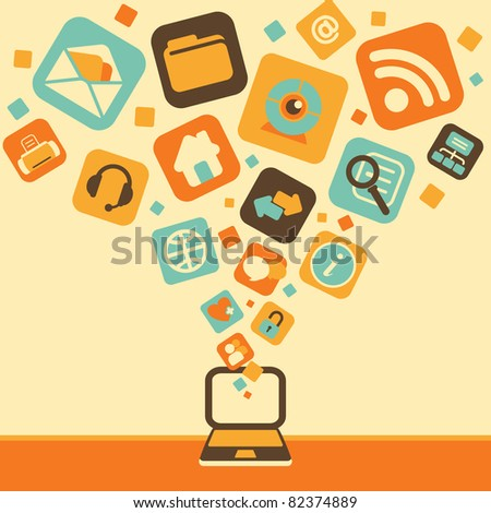 Laptop and Set of Computer and Electronics Icon - stock vector