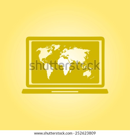 Laptop world map illustration world map stock vector 252623809 laptop and world map illustration world map geography symbol flat design style vector gumiabroncs Images