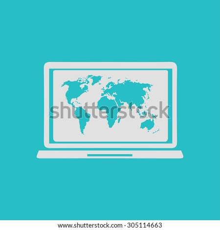 Laptop world map illustration world map stock vector 305114663 laptop and world map illustration world map geography symbol flat design style vector gumiabroncs Images