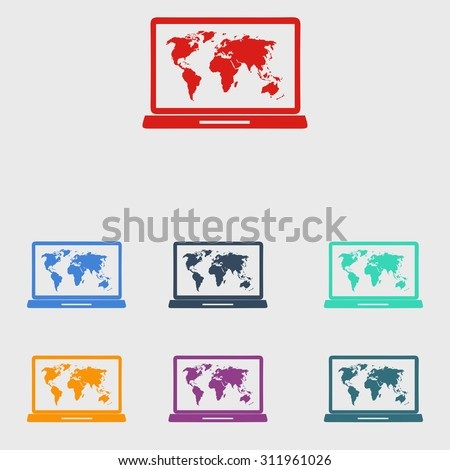 Laptop world map illustration world map stock vector 311961026 laptop and world map illustration world map geography symbol flat design style vector gumiabroncs Images