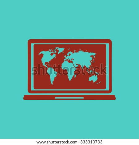 Laptop world map illustration world map stock vector 333310733 laptop and world map illustration world map geography symbol flat design style vector gumiabroncs Images
