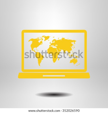 Laptop world map illustration world map stock vector 352026590 laptop and world map illustration world map geography symbol flat design style vector gumiabroncs Images