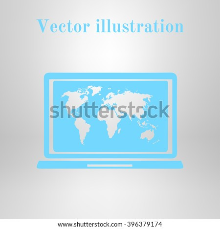 Laptop world map illustration world map stock vector 446711815 laptop and world map illustration world map geography symbol flat design style vector gumiabroncs Images
