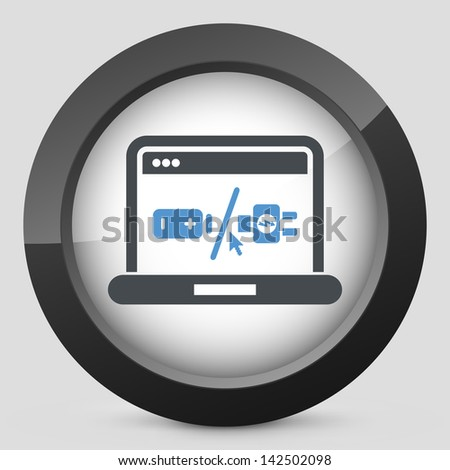 Laptop battery charge concept icon - stock vector