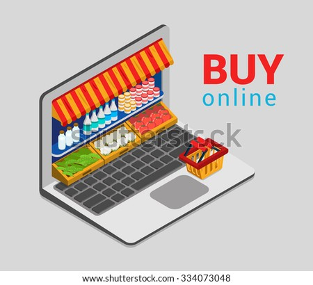 Laptop buy online grocery shopping e-commerce store flat 3d web isometric infographic concept vector electronic business sales. Shop cart market shop showcase product shelving shelf laptop screen. - stock vector