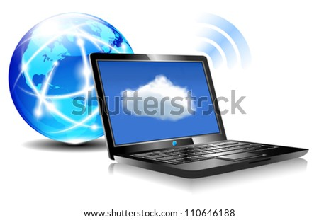 """Laptop Cloud Connection wifi digital - Client computers communicating with resources located in the """"cloud"""" - stock vector"""