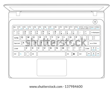 laptop computer notebook outline vector - stock vector