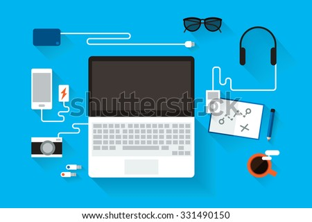 Laptop computer on table. - stock vector