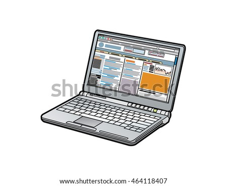 Laptop computer, open with internet browser (generic) on screen, vector illustration.